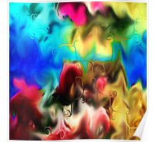 abstract art, blue, purple, yellow, white, red, black Poster