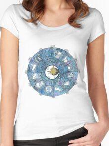 Watercolor Zentangle Zodiac Chart Women's Fitted Scoop T-Shirt