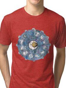 Watercolor Zentangle Zodiac Chart Tri-blend T-Shirt