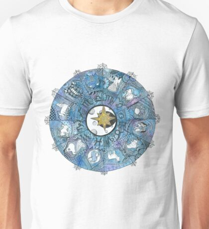 Watercolor Zentangle Zodiac Chart Unisex T-Shirt