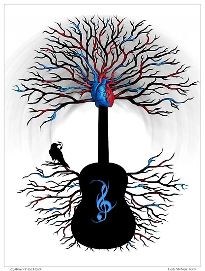 Rhythms of the Heart - ( surreal guitar art ) by Leah McNeir