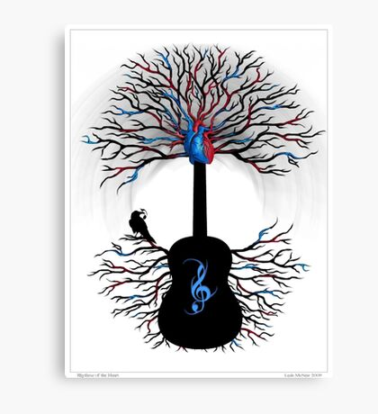 Rhythms of the Heart - ( surreal guitar tree art ) Canvas Print