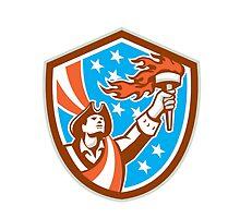American Patriot Holding Torch Flag Shield Retro by patrimonio