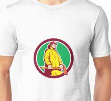 Fireman Firefighter Standing Axe Circle Retro Unisex T-Shirt