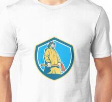 Fireman Firefighter Standing Axe Shield Retro Unisex T-Shirt
