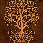 Musical Treble Clef Tree Brown Stone by Jeff Bartels