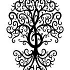 Black Musical Treble Clef Tree  by Jeff Bartels
