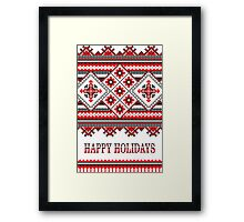 Knitting Pattern Christmas Card - Happy Holidays Framed Print