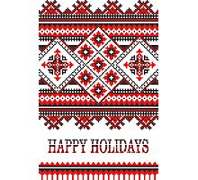 Knitting Pattern Christmas Card - Happy Holidays Photographic Print