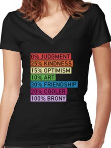 100% BRONY - MLP Women's Fitted V-Neck T-Shirt