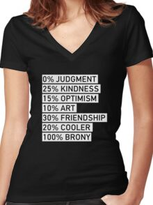 100% BRONY (Black & White) Women's Fitted V-Neck T-Shirt