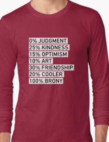 100% BRONY (Black & White) Long Sleeve T-Shirt