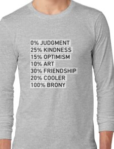 100% BRONY (Black & White) Long Sleeve T-Shirt