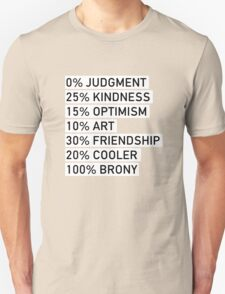 100% BRONY (Black & White) Unisex T-Shirt