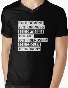 100% BRONY (Black & White) Mens V-Neck T-Shirt
