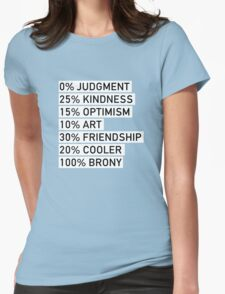 100% BRONY (Black & White) Womens Fitted T-Shirt