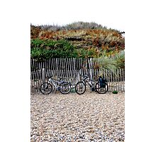 Lets park the bikes and  get some fish and chips. Photographic Print
