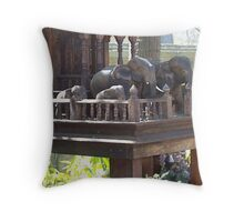 Melbourne Zoo-Carved Elephants. Throw Pillow
