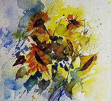 watercolor sunflowers by calimero