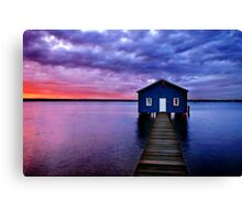 Blue Boathouse Canvas Print