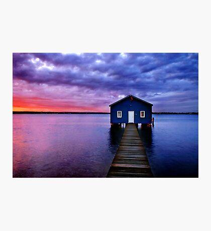 Blue Boathouse Photographic Print