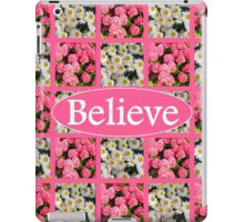 WHITE AND PINK FLORAL BELIEVE DESIGN iPad Case/Skin