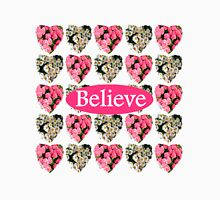 ROMANTIC WHITE AND PINK FLORAL BELIEVE DESIGN Unisex T-Shirt