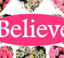 ROMANTIC WHITE AND PINK FLORAL BELIEVE DESIGN Sticker