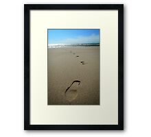 Footprints in sand Framed Print
