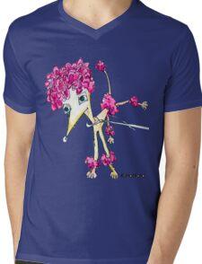 Pink Poodle Mens V-Neck T-Shirt