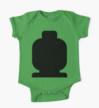 Black Minifig Head  One Piece - Short Sleeve