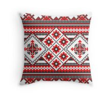 Red and Black Knitting Pattern Throw Pillow