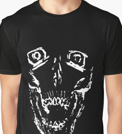 Inverse Screaming Skull Graphic T-Shirt
