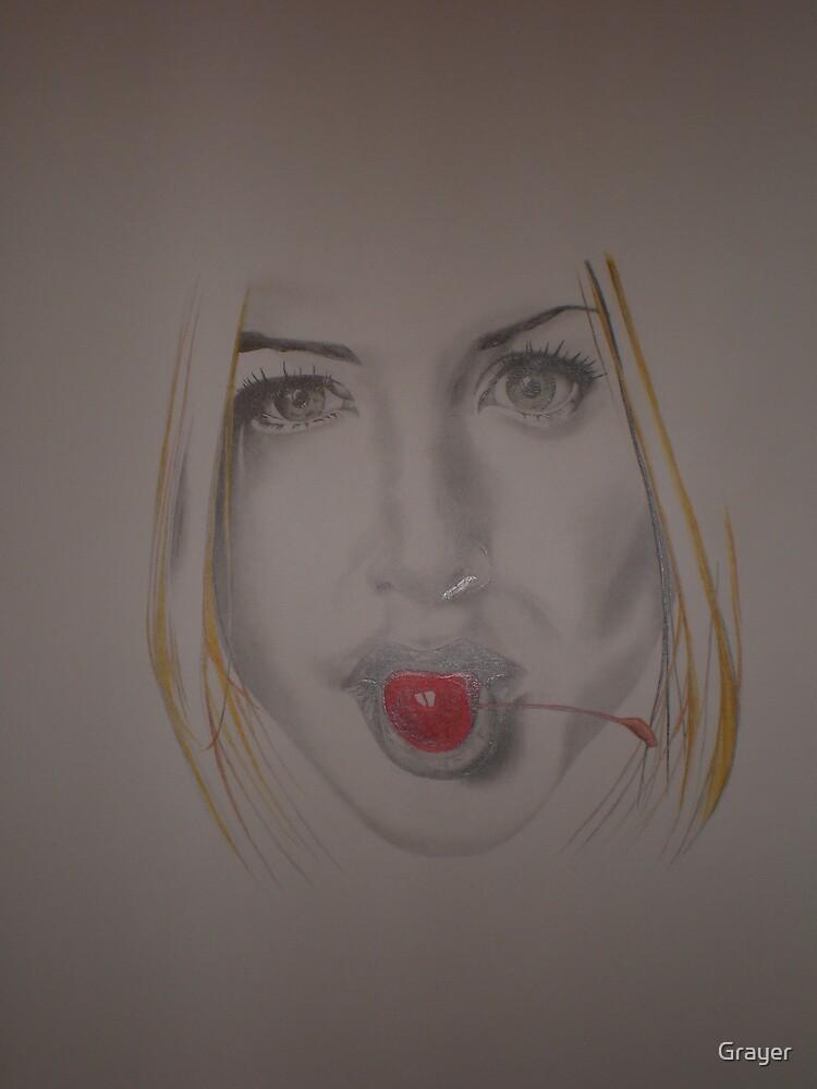Jennifer Aniston sucking a cherry by Grayer