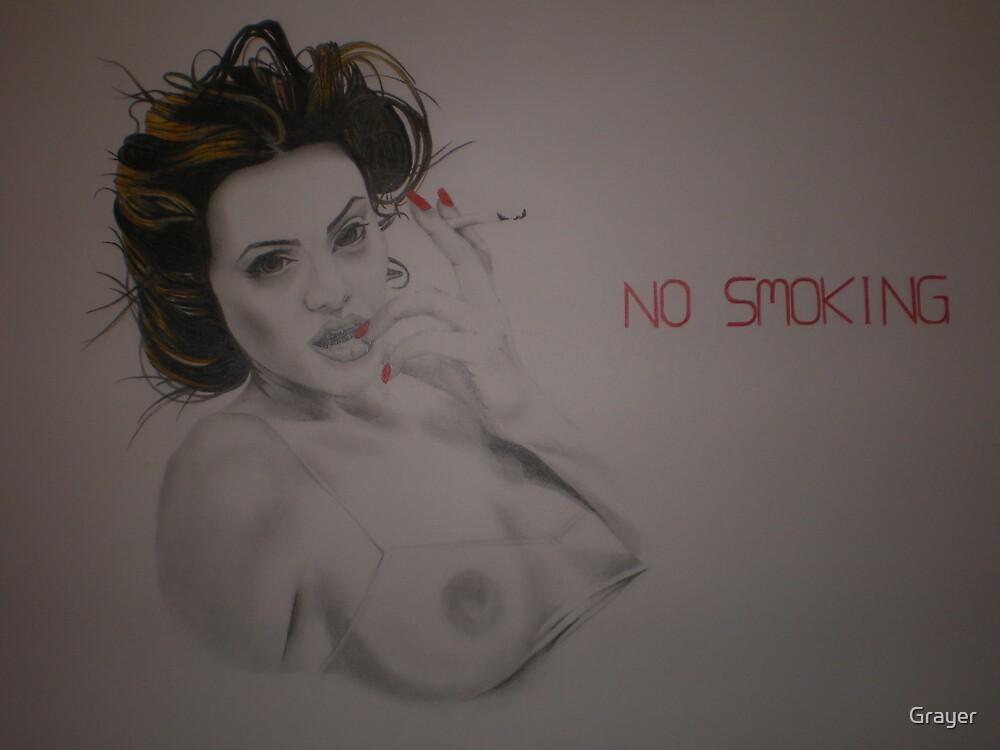 Angelina Jolie Smoking by Grayer