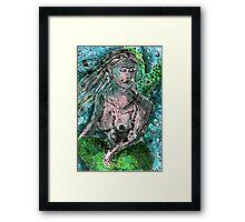 Mermaid Monotype Framed Print
