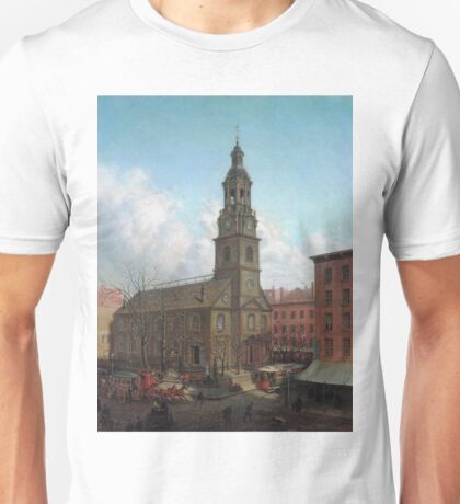 Edward Lamson Henry - The North Dutch Church, Fulton And William Streets, New York Unisex T-Shirt