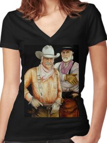 """""""Gus And Woodrow"""" Women's Fitted V-Neck T-Shirt"""