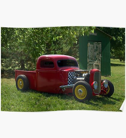 1937 Ford Pickup Truck Hot Rod with a 32' Ford Radiator Poster