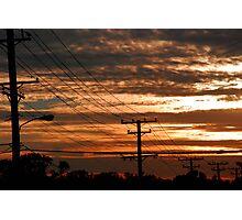 Telephone Sunset Photographic Print