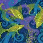 Golden Fishes, underwater creatures, blue & yellow by clipsocallipso