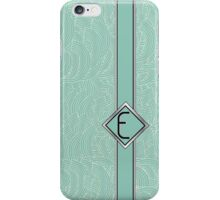 1920s Blue Deco Swing with Monogram letter E iPhone Case/Skin