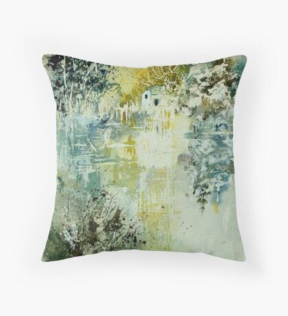 Watercolor mill Throw Pillow