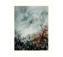 snowy landscape watercolor Art Print