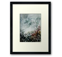 snowy landscape watercolor Framed Print