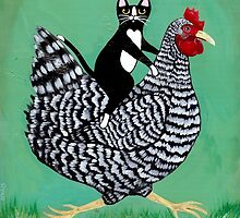 Cat Riding a Chicken by Ryan Conners