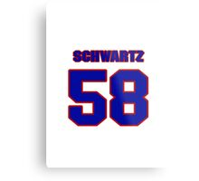 National football player Bryan Schwartz jersey 58 Metal Print