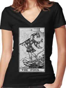 The Fool Tarot Card - Major Arcana - fortune telling - occult Women's Fitted V-Neck T-Shirt