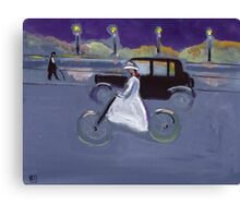 The cyclist (from my original acrylic painting) Canvas Print
