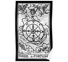 Wheel of Fortune Tarot Card - Major Arcana - fortune telling - occult Poster